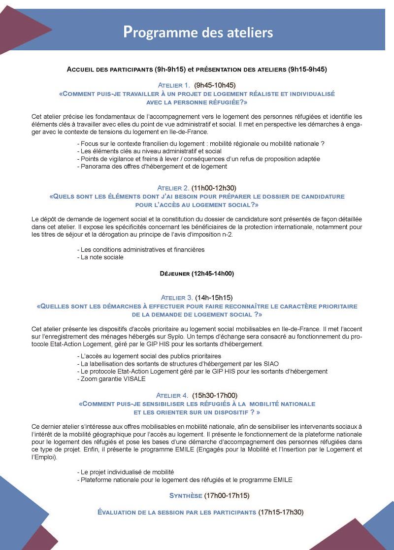 Programme ateliers logement des réfugiés Page 2