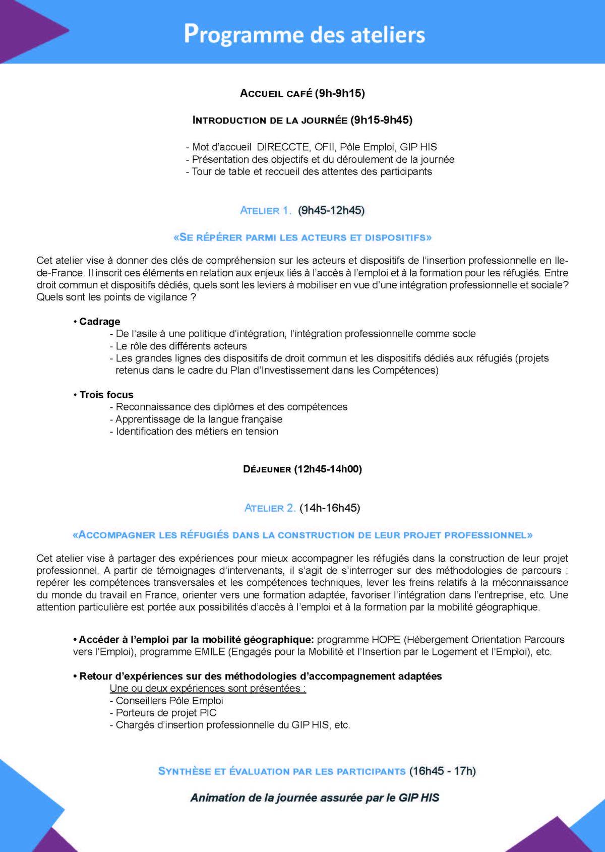 Atelier Préparer et réussir laccès à lemploi des réfugiés programmeSiteI Page 2